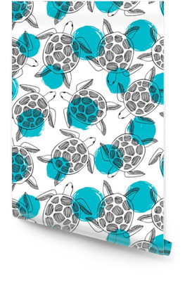 Vintage seamless pattern with sea turtles on a polka dot background. Wallpaper roll