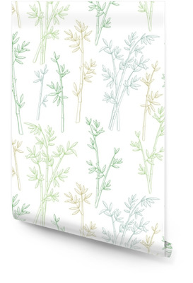 Bambou plante graphique couleur verte modèle sans couture croquis illustration vecteur Rouleau de papier peint