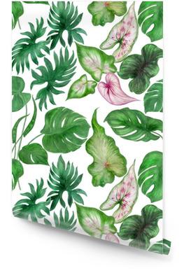 Acuarela pintura de patrones sin fisuras con hojas tropicales Rollo de papel pintado