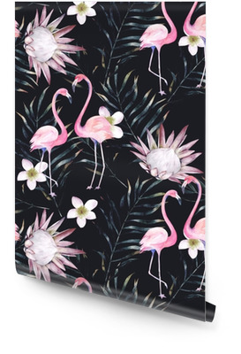 Watercolor african protea, flamingo and tropical leaves pattern. Seamless motif with painted floral elements on black background for wrapping, wallpaper, fabric. Hand drawn illustration Wallpaper Roll
