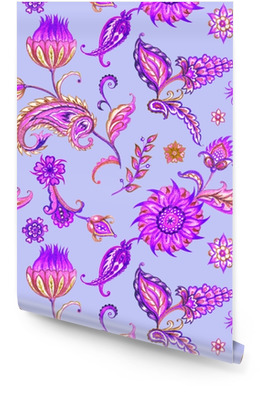 Seamless paisley pattern. Decorative pattern of leaves and flowers, watercolor pattern in purple tones. Wallpaper roll