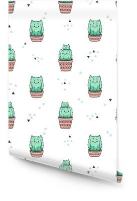 Naadloze patroon met schattige cactus kat. vector achtergrond. Behangrol