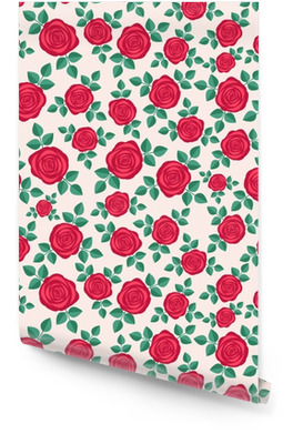 Seamless elegant floral pattern with red roses. Ditsy print. Perfect for scrapbooking, textile, wrapping paper etc. Vector illustration. Wallpaper Roll