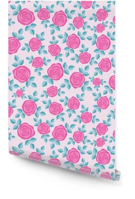 Naadloze elegante bloemmotief met roze rozen op roze achtergrond. ditsy print. perfect voor scrapbooking, textiel, inpakpapier enz. vectorillustratie. Behangrol