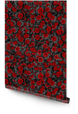 Dark leaved roses background / 3D illustration of abstract black leaved roses pattern Wallpaper Roll