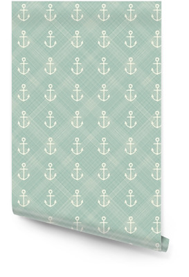 abstract geometric retro seamless polka dot background with anchors Wallpaper Roll