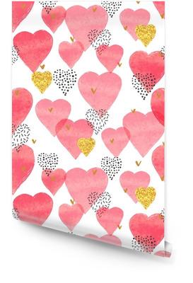 Rode aquarel harten patroon. Valentijnsdag naadloze achtergrond. Behangrol