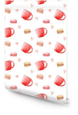 4e007576 Akvarium kaffekopper, makroner og hjerte mønster. isolert illustrasjon for  design, utskrift eller bakgrunn