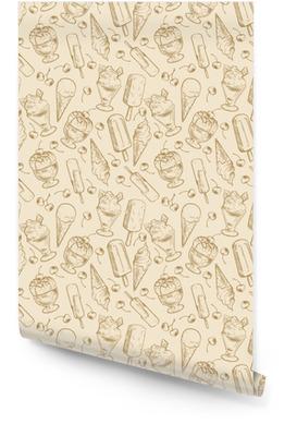 Vintage dessert pattern - sketch ice cream and cherries seamless pattern Wallpaper roll