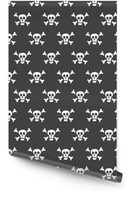Crânes blancs de modèle sans couture avec des os sur un fond noir Rouleau de papier peint