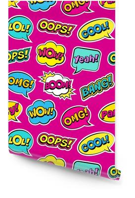 Modèle coloré sans couture avec des correctifs de bulles de discours comique sur fond rose. expressions oups, cool, ouais, boom, wow, omg, bang. illustration vectorielle des autocollants vintage modernes, style pop art Rouleau de papier peint