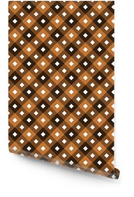 Échantillon de chocolat sans couture - ornements carrés ou de losange de manière diagonale et couleurs sourdes de brun avec des carrés blancs au centre de chacun Rouleau de papier peint