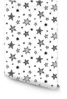 Nahtlose Muster mit Hand gezeichneten Sternen. skandinavischer Stil Tapetenrolle
