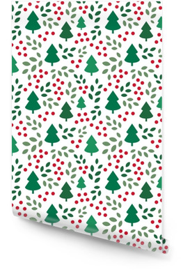 Endless Christmas Pattern with Christmas Trees Wallpaper Roll
