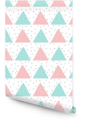 Schattig naadloos patroon voor kinderen. driehoeken en ronde vlekken. met de hand getekend. Behangrol