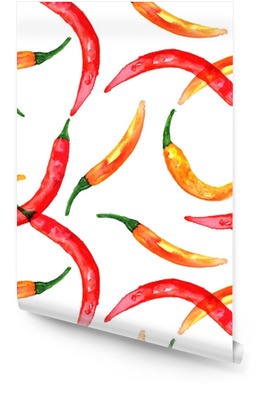 Seamless pattern of watercolor drawings of chili peppers Wallpaper roll