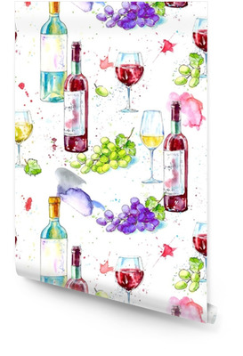 Seamless pattern of a bottle of white and red wine,grape and glasses.Picture of a alcoholic drink.Watercolor hand drawn illustration.White background. Wallpaper Roll