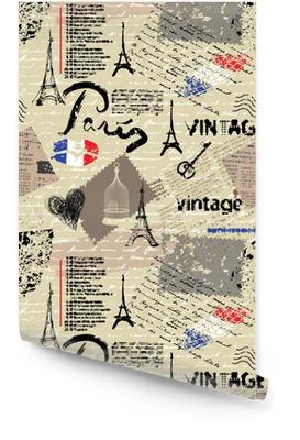Naadloze achtergrondpatroon. imitatie van een vintage plakboekcollage met het van letters voorzien van Parijs. Behangrol