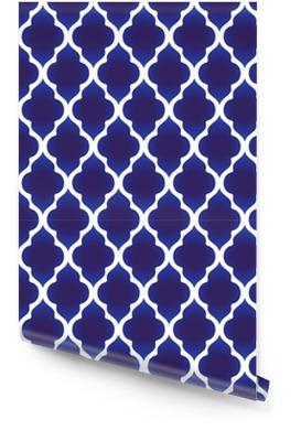 Patrón islámico azul y blanco Rollo de papel pintado