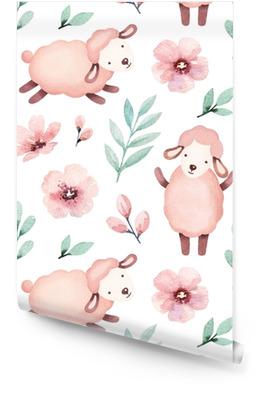 Watercolor illustration of cute sheep. Seamless pattern Wallpaper Roll