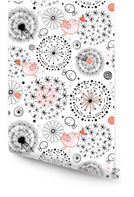 Un motif de silhouettes de pissenlits Rouleau de papier peint