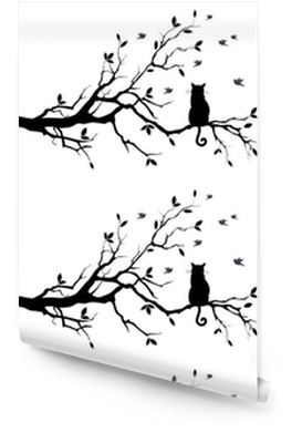 cat on a tree with birds, vector Wallpaper Roll