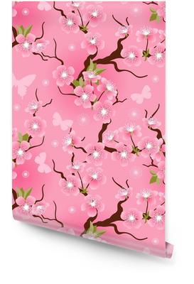 Cherry blossom seamless flowers pattern. Wallpaper Roll