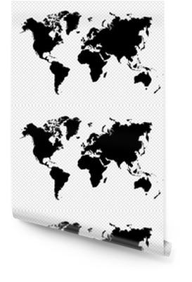 Noir isolé carte fichier vectoriel EPS10 mondiale. Rouleau de papier peint