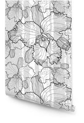 Modèle vectoriel monochrome transparente des orchidées Rouleau de papier peint