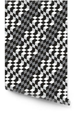 Svartvit Cubes Optical Illustion Vector sömlösa mönster Rulltapet