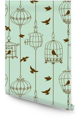 Sømløs mønster av fugler og bur Rulletapet