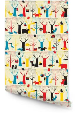 Puu-eläimet kuvakudos saumaton malli modernistisissa väreissä Rullatapetti