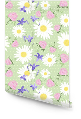 Seamless pattern with wild flowers on the background of with pol Wallpaper Roll
