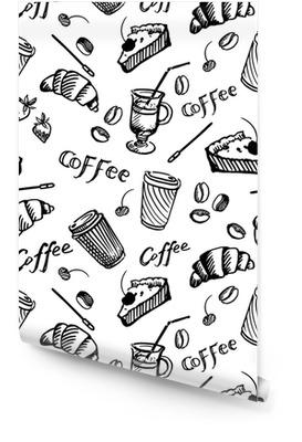 Sömlöst mönster av kaffe Rulltapet