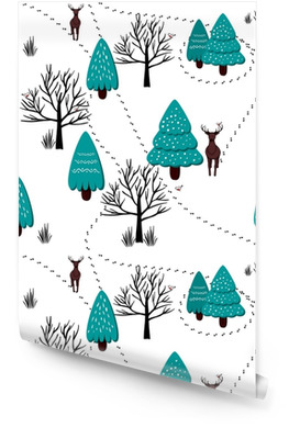 Winter forest scenery pattern, vector Wallpaper Roll
