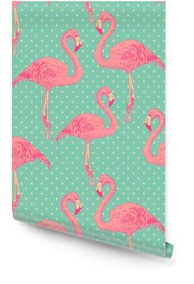 Bezproblemową flamingo wzór ptaka. ręcznie rysowane wektor Tapeta w rolce