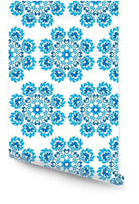 Saumaton sininen kukka puola folk art kuvio - wycinanki Rullatapetti