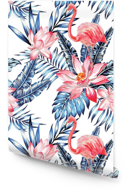 pink flamingo and blue palm leaves pattern Wallpaper Roll
