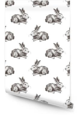 Sømløs mønster med håndtegnet kanin Rulletapet