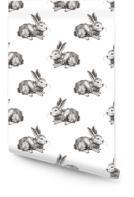 Sømløs mønster med håndtegnet kanin Tapetrulle