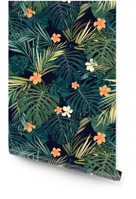Heldere kleurrijke tropische naadloze achtergrond met bladeren en Behangrol