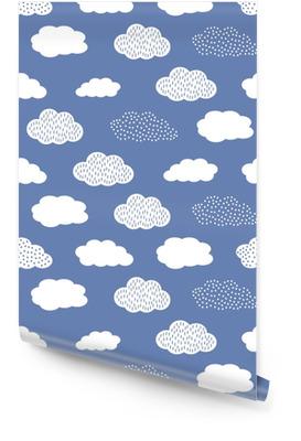 Naadloze patroon met witte wolken op blauwe achtergrond. Behangrol