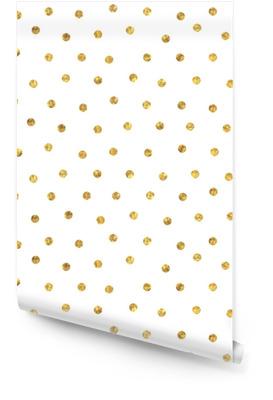 Seamless polka dot golden pattern. Wallpaper Roll