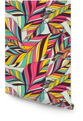 Vector seamless pattern with multicolor hand drawn decorative le Wallpaper Roll