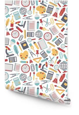 Naadloze achtergrond met kleurrijke school pictogrammen. geïsoleerd op wit Behangrol