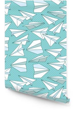 Papier vliegtuigen naadloze textuur Behangrol
