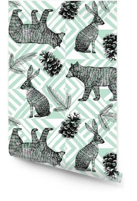 Ręcznie rysowane zimowy Modny wzór, geometryczne tle Tapeta w rolce