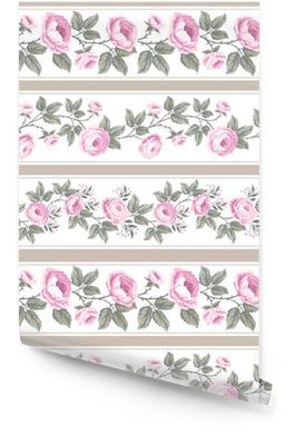 Jogo de beiras florais sem emenda com rosas Rolo de papel de parede