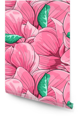 Bellissimo sfondo senza soluzione di continuità con magnolia rosa. Rotolo di carta da parati
