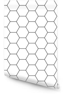 Vector hexágono moderno geometría perfecta, blanco y negro fondo geométrico abstracto, impresión moderna, monocromática textura retro, diseño de moda hipster Rollo de papel pintado